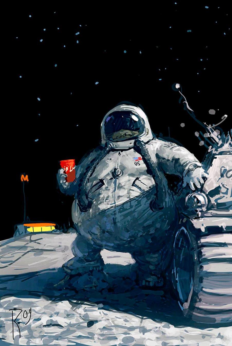 Прикольная картинка про космос, поздравление