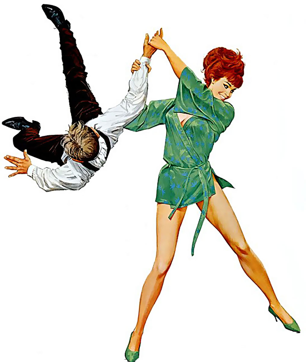 Картинка где девушка бьет